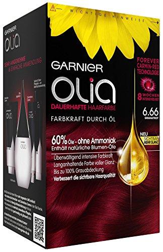 Garnier Olia Haar Coloration Granatrot 6.66 / Färbung für Haare enthält 60% Blumen-Öle für 8 Wochen intensive Farbkraft - Ohne Ammoniak - 3 x 1 Stück