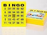 200 große Bingokarten für Senioren 24 aus 75 mit Joker in der Mitte (gelb)