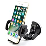Rheme One Touch en voiture pare-brise Support de Berceau pour iPhone 6/5S/5 C/5/4S/4/3 Gs Samsung Galaxy Note II/S5/S4/S3/Note/Note/Epic Touch 4 G Nokia Lumia 900 HTC One X Evo 4 G Rhyme Droid Razr Bionic Incredible Google Nexus Blackberry Torch LG Revolution GPS de largeur 50 mm – 83 mm Rotation 360 ° Compatible avec presque tous les téléphones Samsung Apple HTC Nokia BlackBerry Motorola Sony Ericsson LG