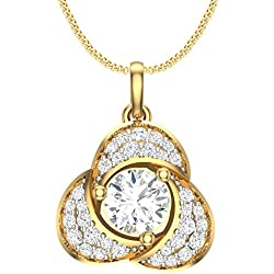 Clara Silvo 18K Gold Plated Sterling Silver Aara Pendant with AAA American Diamonds for Women and Girls