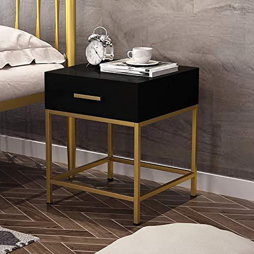 SQIHUI Massivholztisch, Haushaltsnachttisch, Modern Minimalistischer Nachttisch, Sofa, Mehrere Schlafzimmer, Schmiedeeisen Beistellschrank,Schwarz