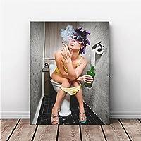 MINRAN DECOR A Druck Poster Kunstdruck – Toilettenmalerei CP134 – Modern Art Canvas Print - Canvas Print Stretched on a Frame als Moderne Wanddekoration, A, 30 * 25CM