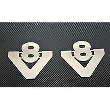 2piezas acero inoxidable Llaveros de pequeño V8Señal cromado accesorios para Scania camiones todas las Series