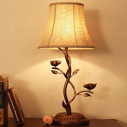 JUNMIN LED E27 tavolo lampada retrò per la camera da letto soggiorno decorazione illuminazione tessuto resina Vines uccelli Comodino lampada da tavolo , button switch - Button Uccello