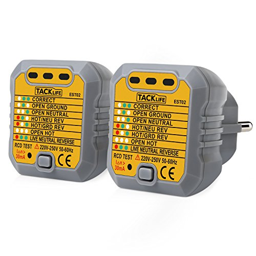 Tacklife EST02-2 Rilevatore di Presa di Corrente Tester per Circuiti