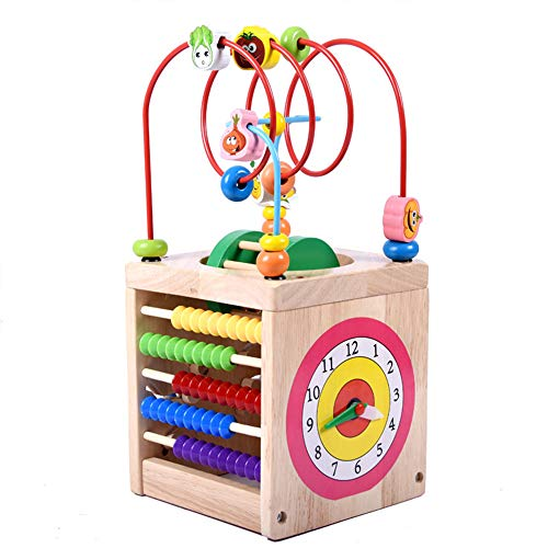 6-in-1 Wooden Cube Toys Activity Centre Multifunction Bead Maze Cube Learning Toys for Kids Toddlers Gifts
