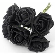 6 negro rosas artificiales - desteñir perfectdarts - sesenta y cinco centímetros de 20 cm de