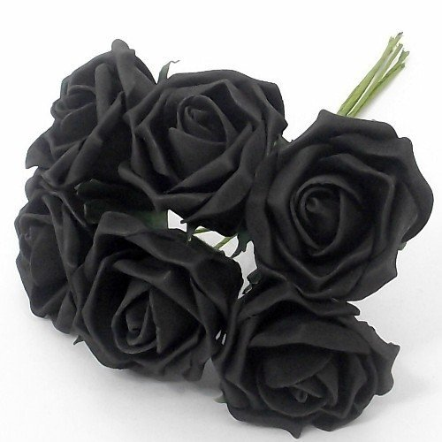 6 negro rosas artificiales - desteñir perfectdarts - sesenta y cinco centímetros de 20 cm de tallo - rosa
