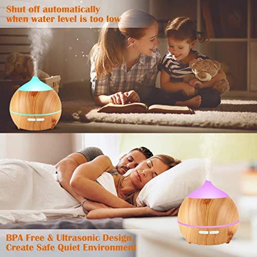 Aroma Diffuser Leise, OKELAY 250ml Luftbefeuchter Oil Düfte Humidifier Holz Ultraschall LED mit 7 Farben fürBüro/Schlafzimmer / Wohnzimmer/Arbeitszimmer / Yoga/Spa / Geschenke