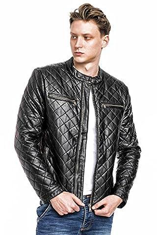 MEGASTYL Leder-Jacke Biker-Style Stepp-Design Slim-Fit Schwarz, FARBE:Schwarz, Größe:S