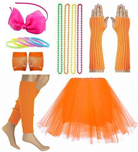 Kind Mädchen 80er Zubehör Set Tutu Rock mit Neon Armband Halskette Kostüm Set (Orange)