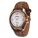 Trendy Antique Brown Leather Belt Watch, Round Copper and White Dial Analog Watch For Men