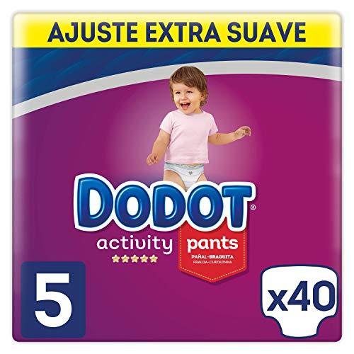 Dodot Activity - Pants Pañal-Braguita Talla 5, Fácil de Cambiar con Canales de Aire, 40 Pañales, 12-17 kg