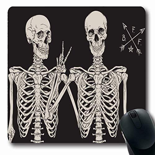 Luancrop mousepads per computer day skull scheletri umani migliori amici in posa sketch holidays vintage rock drawn hand tattoo horror tappetino per mouse oblungo antiscivolo