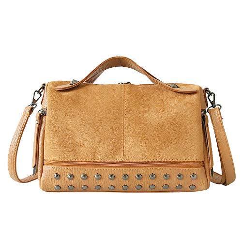 SUCES Frauen Umhängetasche,Damen Rucksack Festlich Klassisch Geschenk Faux Leder Schön Handtasche Modisch Große Kapazität Tasche (Braun2,30x11x24cm) -