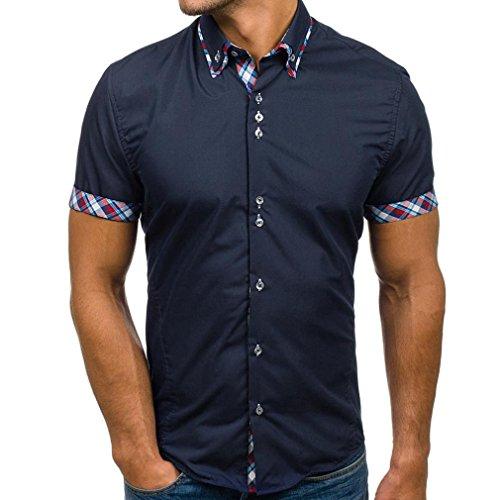 Marines Herren-tee (Zarupeng Basic Hemd für Herren, Sommer Slim Patchwork Freizeithemd Kurzarm Revers T-Shirt Top Tee (XL, Marine))