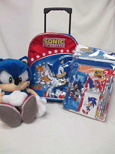 Sonic The Hedgehog Large 16 Rolling Backpack Roller Wheeled Book Bag & 11 Piece Stationery Portfolios Notebook Pencil Pouch Set by Disney Wheeled Backpack Für Laptop