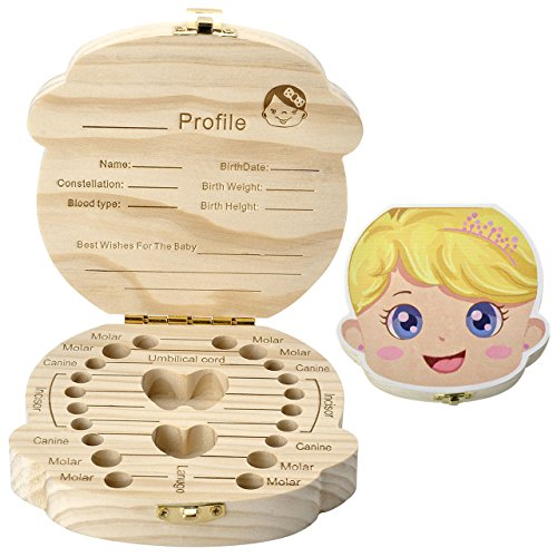 Mogoko baby Kinder Original Holz Haar Farbig Milchzahndose Milchzähne Zähne box Kasten mit Englisch Text Souvenir Aufbewahrungsbox Niedlich Süß Karton Pattern (Prinzessin)