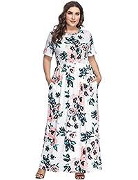 Vestido Largo Mujer Talla Grande Moda Bolsillo Top Falda para Fiesta Verano Manga Corta Floral Estampada