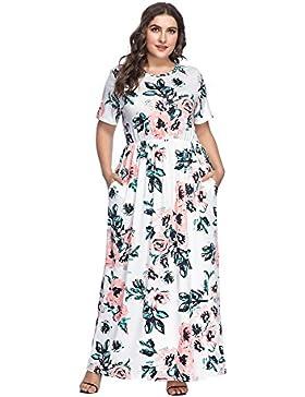 Vestido Largo Mujer Talla Grande Moda Bolsillo Top Falda para Fiesta Verano Manga Corta Floral Estampada Suleto...