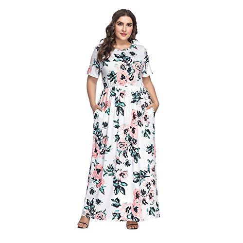 Lover-Beauty Damen Floral Print Kurzarm Boho Kleid Abendkleid Party Lange Maxikleid