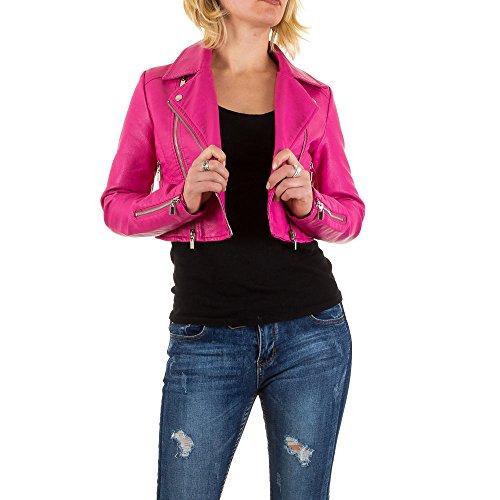 Lederoptik Cropped Biker Jacke Für Damen , Pink In Gr. 42 bei Ital-Design