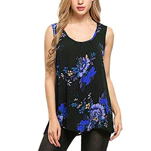 iYmitz Damen Rundausschnitt Tanktops, Sommer Drucken Plus Größe Weste Tops Lose T-Shirts Blumen Bluse Sweatshirts Tops Oberteil(Blau,EU-34/CN-M)