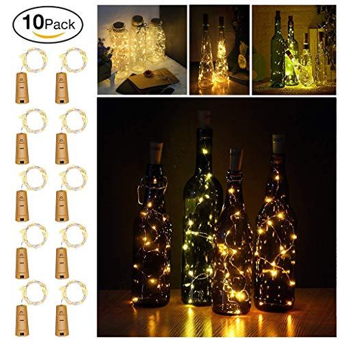 ICheap LED Flaschenlicht 10 Stück, 10x 20 LED Lichterketten Stimmungslichter Kork Flaschen Licht für Hochzeit, Party, Weihnachten, Halloween Romantische Deko (Warmweiß)