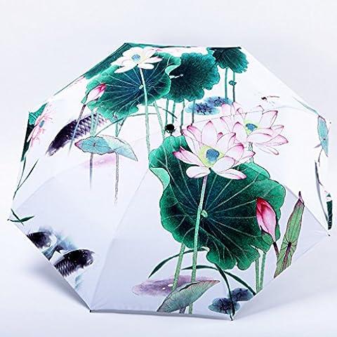 Paraguas de sol de Lotus Pond agua Jugando contra Sun Shade UV sombrilla