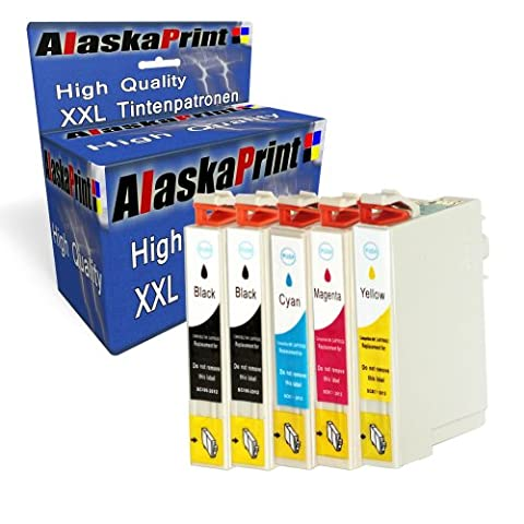 Premium 5er Set Druckerpatronen Kompatibel für Epson T0711 T0712 T0713 T0714 XL für Epson Stylus sx218 patronen (Schwarz , Cyan , Magenta , Gelb) 5x0711-Epson