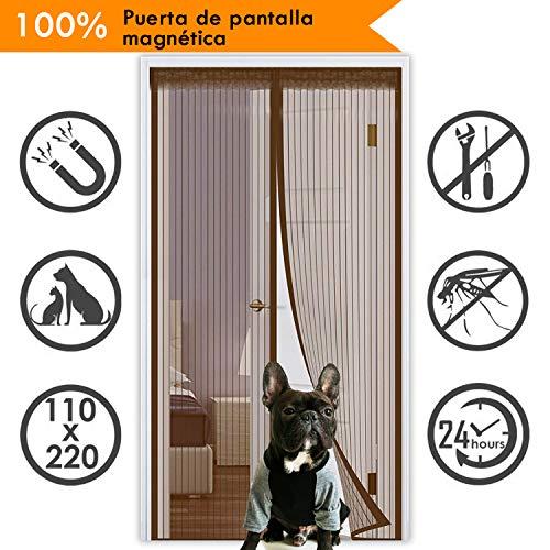 Cortina Mosquitera Puerta, HIEHA Puerta Corredera con 32 Magnético, Tela Mosquitera protección de Insectos para Sala de Estar Balcón  (90*210cm)