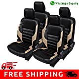 Hi Art Black and Beige Leatherite Custom Fit Seat Covers for Volkswagen Cross Polo - Complete Set