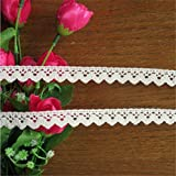 10 Yards Cotton Lace Edge Trim Ribbon 1.5 cm Width Vintage Style Ivory Cream Edging Trimmings Fabric Embroidered Applique Sewing Craft Wedding Bridal Dress Embellishment DIY Decor Clothes Embroidery