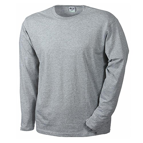 James & Nicholson - Herren Longsleeve Medium Grey Heather