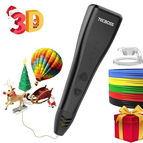 Tecboss 3D Penna, 3D Stampa Penna Compatibile con PLA Materiale, 3 velocità Regolabile,Grande Regalo per Bambini Adulti Artista