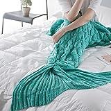 Gestrickte Meerjungfrau Schwanz Decke für Erwachsene, handgemachte weiche Flexible dehnbare Sofa Schlafsack, meerjungfrau decke mit speziellen Muster (190cm x 90cm)