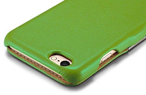Luxus Tasche für Apple iPhone 6S und iPhone 6 (4.7 Zoll) / Case Außenseite aus Echt-Leder / Innenseite aus Textil / Schutz-Hülle seitlich aufklappbar / ultra-slim Cover / Farbe: Schwarz Grün - glatt