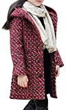 SMITHROAD Mantel Winterjacke Winter Herbst Kinder Mädchen verdickte warm casual mit Kapuzen lang elegant Oberbekleidung Winddicht Steppjacke Parka Trenchcoat Outerwear,Rot Gr.134-140