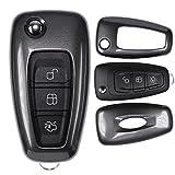 mt-key Klapp Schlüssel Cover Hülle FORD Mondeo S-Max Focus Fiesta Transit/Farbe: Metallic Grau