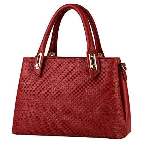 MissFox Borsa A Spalla Donna Borse A Mano Borsa Messenger Donna Vintage Cerniera Design Tote Vino Rosso