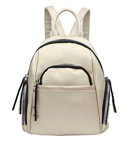 NEU Damen Kunstleder viele Reißverschluss Taschen Klein Rucksack Handtasche - grau, Small Gold