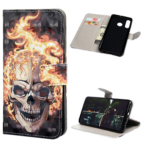 Andome Kompatible mit Huawei P30 Lite Hülle Leder Tasche PU Leder Hülle Gemalt Muster Flip Brieftasche Kartenhalter Magnetschnalle Ständer Stoßfest Kratzfest Stoßstange Handyhülle Feuer
