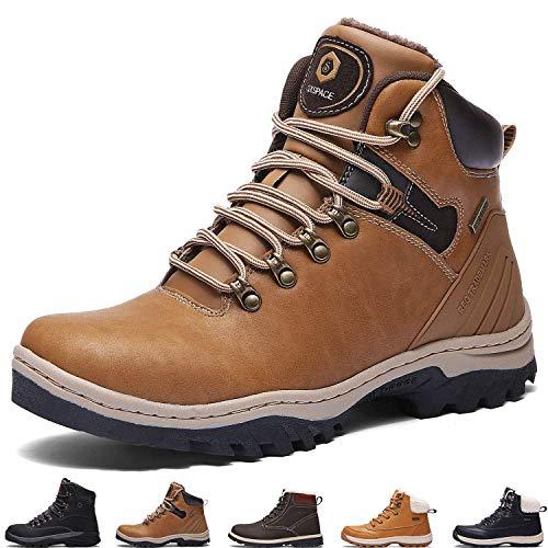SIXSPACE Herren Winterstiefel Warm Gefütterte Winterschuhe Outdoor Schneestiefel Wanderschuhe Rutschfeste Arbeitsschuhe Winter Boots (Gelb 42 EU)
