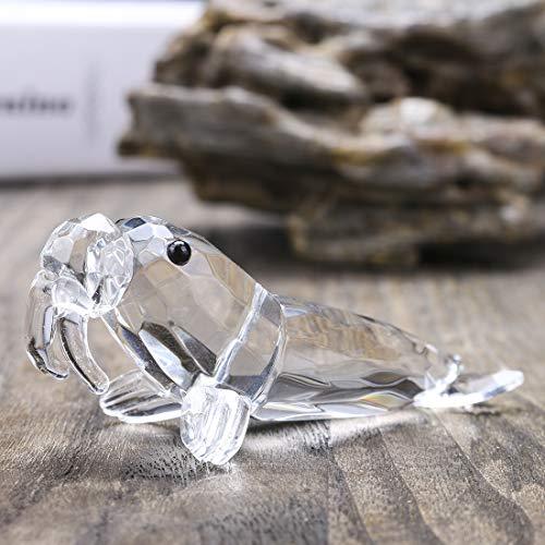 YU FENG Clear Crystal Walross Sammler Figur Mini Tier Statue Tisch Dekor Weihnachten Geburtstagsgeschenke (Kristalle Herzstück)