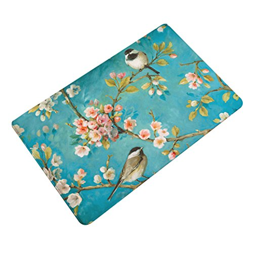 beiguoxia Vogel Baum bedruckt Badezimmer Küche rutschfeste Boden Matte Flanell Teppich Fußmatte, Flanell, 9#, Einheitsgröße (Blumen-boden-matte)