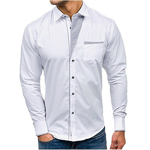 Makefortune Stilvolle Herren Slim Fit Casual italienischen Doppelkragen Shirt Langarm Button-Down-Shirts mit Tasche -