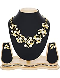 The Luxor Fashion Gold Plated Pearl Necklace Set Jewellery Set With Fancy Party Wear Earrings For Women And Girls