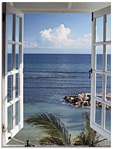 Artland Glasbilder Wandbild Glas Bild einteilig 60x80 cm Hochformat Landschaft Fensterblick Meer Strand Natur Blau Fenster zum Paradies Urlaub T9II