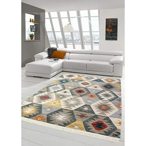 Alya tapis tappeto da salotto decorativo kilim, design moderno, multicolore, 80 x 150 cm