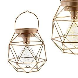 [en.casa] Lámpara decorativa estilosa (17 x 17 x 17 cm) de metal color cobre luz con pilas
